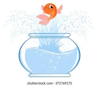 Vector illustration of a gold fish jumping