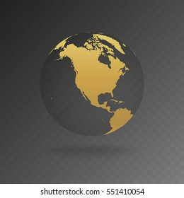 Vector Illustration of gold globe icons with different continents.