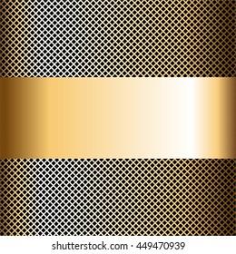 Vector illustration of Gold grid on a black background. Gold ribbon.