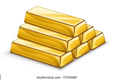 Vector illustration of gold ingots on white background.