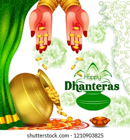 vector illustration of Gold Kalash with decorated diya for Happy Dhanteras Diwali festival holiday celebration of India greeting background