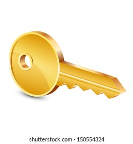 Vector illustration of gold key