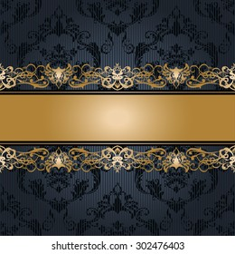 Vector illustration of a gold lace pattern or Baroque, Victorian style.  Luxury design with space for text and background of a similar element.  For wedding invitations, greeting cards.