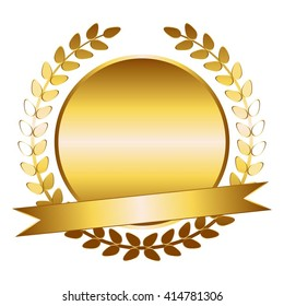Vector illustration of Gold laurel wreath and ribbon.