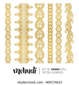 Vector illustration of gold mehndi pattern, set of seamless borders. Traditional indian style, ornamental floral elements for henna tattoo, golden stickers, flash temporary tattoo, mehndi, yoga design