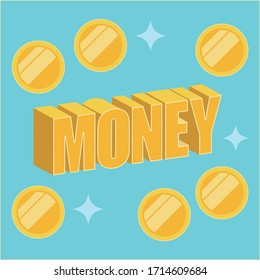 Vector Illustration of gold money and golden coins. Golden coins. Gold money.