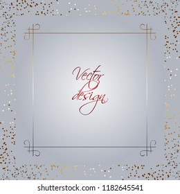 Vector illustration of Gold ornament on a silver background. Sparkles on a silver frame. Gray texture. Calibration text