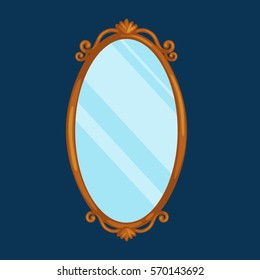vector illustration of gold ornate vintage mirror