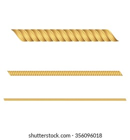 Vector illustration of gold ropes a white background