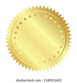 Vector illustration of gold seal with stars