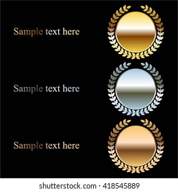 Vector illustration of Gold, silver and bronze design elements with text on a black background.