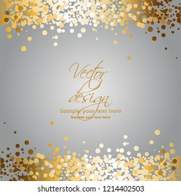 Vector illustration of Gold sparkles on a gray background