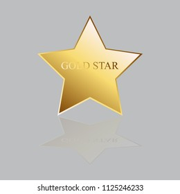 Vector illustration of Gold star with reflection isolated on a gray background