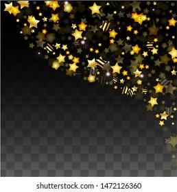 Vector Illustration with Gold Stars on Black Transparent Background. Magic Night. Cosmic Pattern. Stars Confetti. Flying Stardust.  Cosmic Shiny Child Design. Luxury Golden Starry Design. Premium.