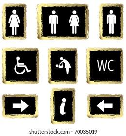 Vector illustration gold toilette sign