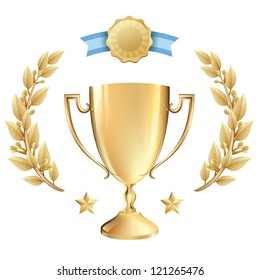 Vector Illustration of a gold trophy award with fancy laurel wreath. Representations include: Achievement, Winning, 1st Place, MVP of a sport or game tournament, quality product, or any success.Eps10.