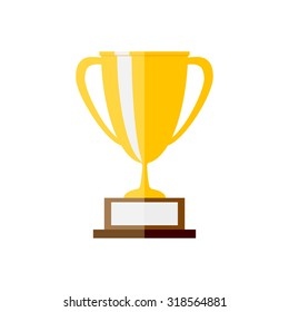 Vector illustration of gold trophy. Vector illustration in flat style.
