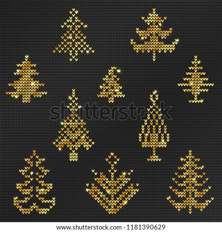 b86fcf1dd308 Vector Illustration Gold Ugly Sweater Pattern Stock Vector (Royalty ...