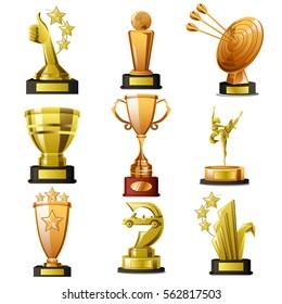 A vector illustration of Gold Winning Trophy Designs