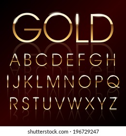 Vector illustration of a golden alphabet
