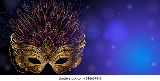 Vector Illustration. Golden carnival mask with feathers on dark blue background. Beautiful concept design for greeting card, invitation, banner or flyer.
