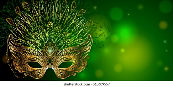 Vector Illustration. Golden carnival mask with feathers on green background. Beautiful concept design for greeting card, party invitation, banner or flyer.
