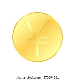 Vector illustration golden coin isolated on a white background
