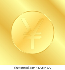 Vector illustration golden coin isolated on a gold background