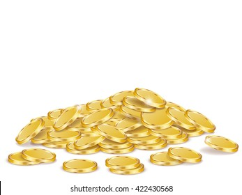 Vector Illustration of golden coins. Golden coins isolated on white.