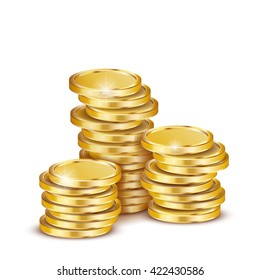 Vector Illustration of golden coins. Isolated on white