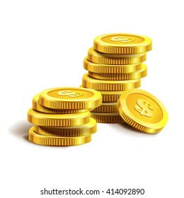 Vector Illustration of golden coins. Money isolated on white. Vector illustration.