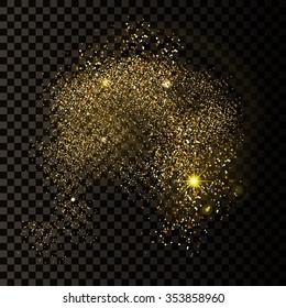 Vector Illustration of Golden Confetti Background  for Design, Website, Background, Banner. Gold sparkle Element for greeting card or Premium flyer. Isolated on transparent