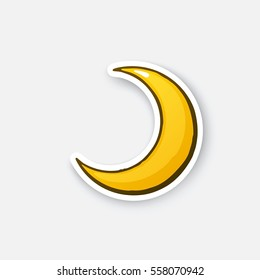 Vector illustration. Golden crescent. Cartoon half moon. Sticker in comic style with contour. Decoration for greeting cards, posters, patches, prints for clothes, emblems