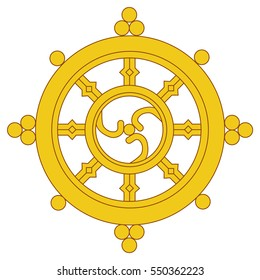 Vector illustration golden Dharma wheel. Buddhism vector symbol. Dharmachakra.