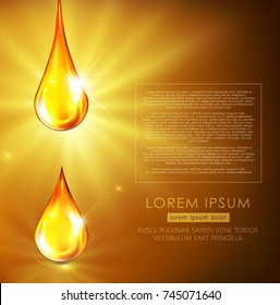 Vector illustration: golden drops of oil, golden serum, falling on a golden background with bright rays. Flyer template, brochure, banner to promote cosmetics, spa, engine oil.