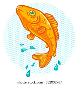 Vector illustration of a golden fish jumping out of water
