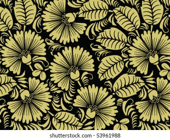 Vector illustration of  golden flowers