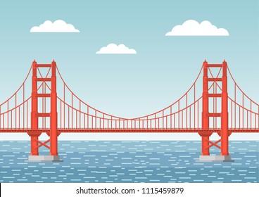 Vector illustration. Golden Gate Bridge. Flat style.