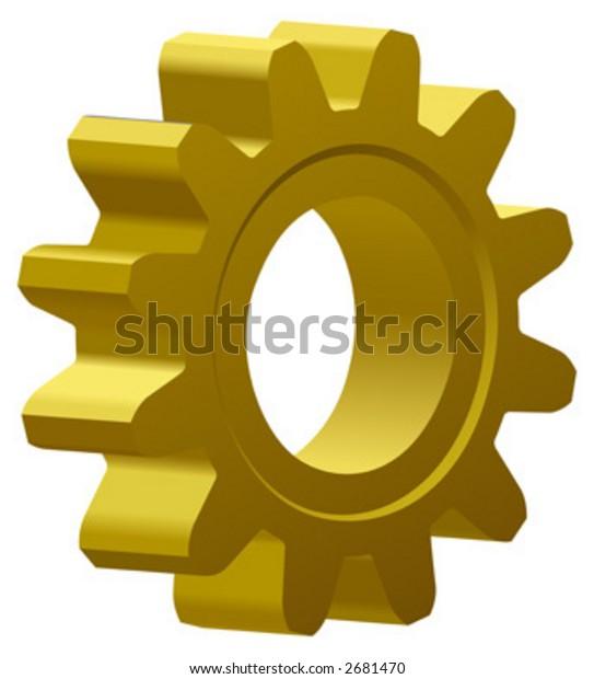 vector illustration of a golden gear; 3D view