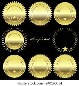 Vector illustration of Golden label, seal, medal.