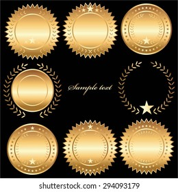 Vector illustration of Golden labels, seals, medals on a black background.