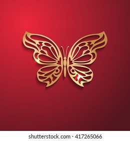 Vector illustration of golden lacy butterfly on red background. Template for your design. EPS10