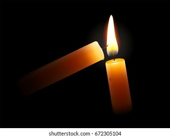 Vector illustration of golden light candle lighting another one on the black background