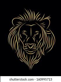 vector illustration of golden lion drawing