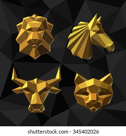 Vector illustration Golden Lion, Horse, Bull, Cat. Polygon style.