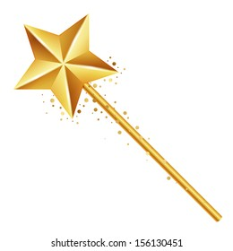 Vector illustration of golden magic wand