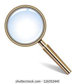 Vector illustration of golden magnifying glass