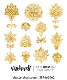 Vector illustration of golden mehndi pattern. Traditional indian style, ornamental floral elements with henna tattoo, golden stickers, flash temporary tattoo, mehndi and yoga design, cards and prints