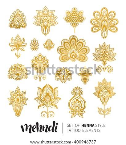 Vector Illustration Golden Mehndi Pattern Traditional Stock Vector