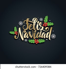 vector illustration of golden golden on black background. Merry Christmas and Happy New Year 2018. letering handmade. translation from Spanish: Merry Christmas